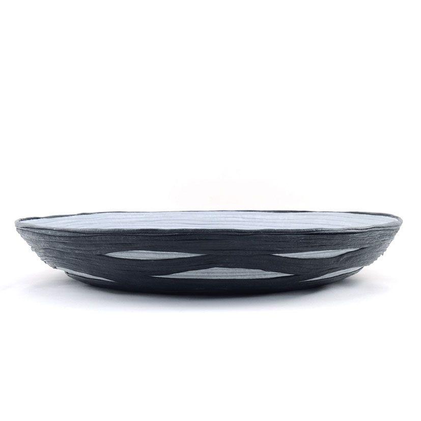 Centro de mesa de tela tonos grises