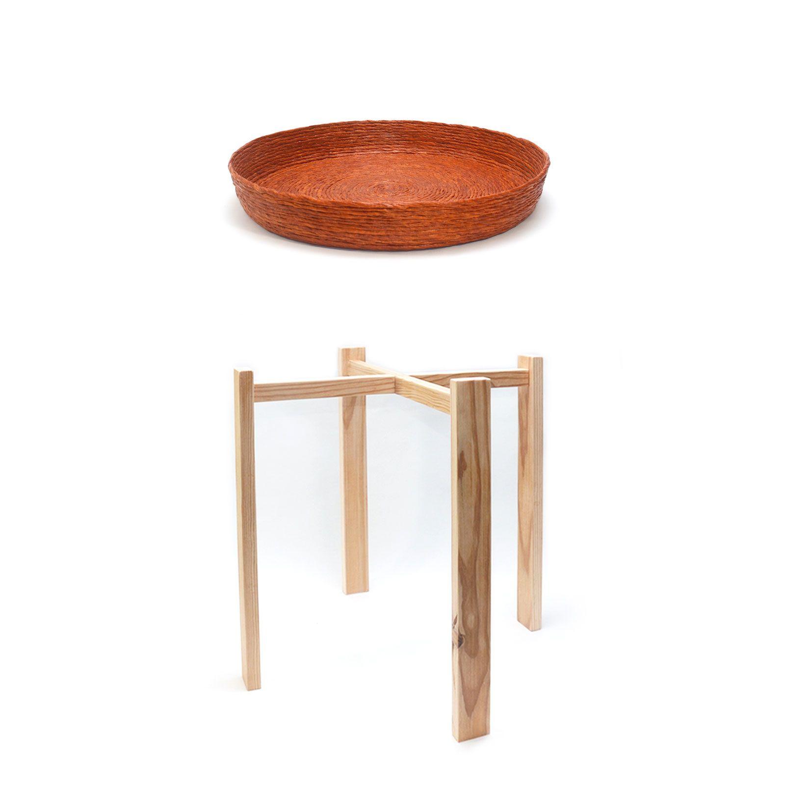 Conjunto mesa auxiliar cobre natural