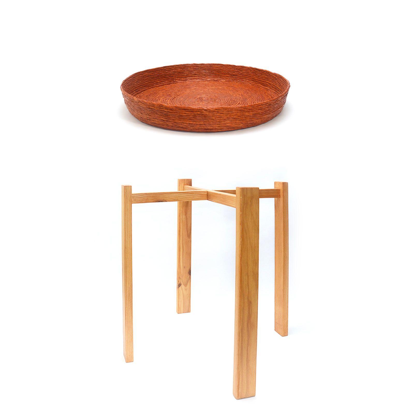 Conjunto mesa auxiliar cobre roble