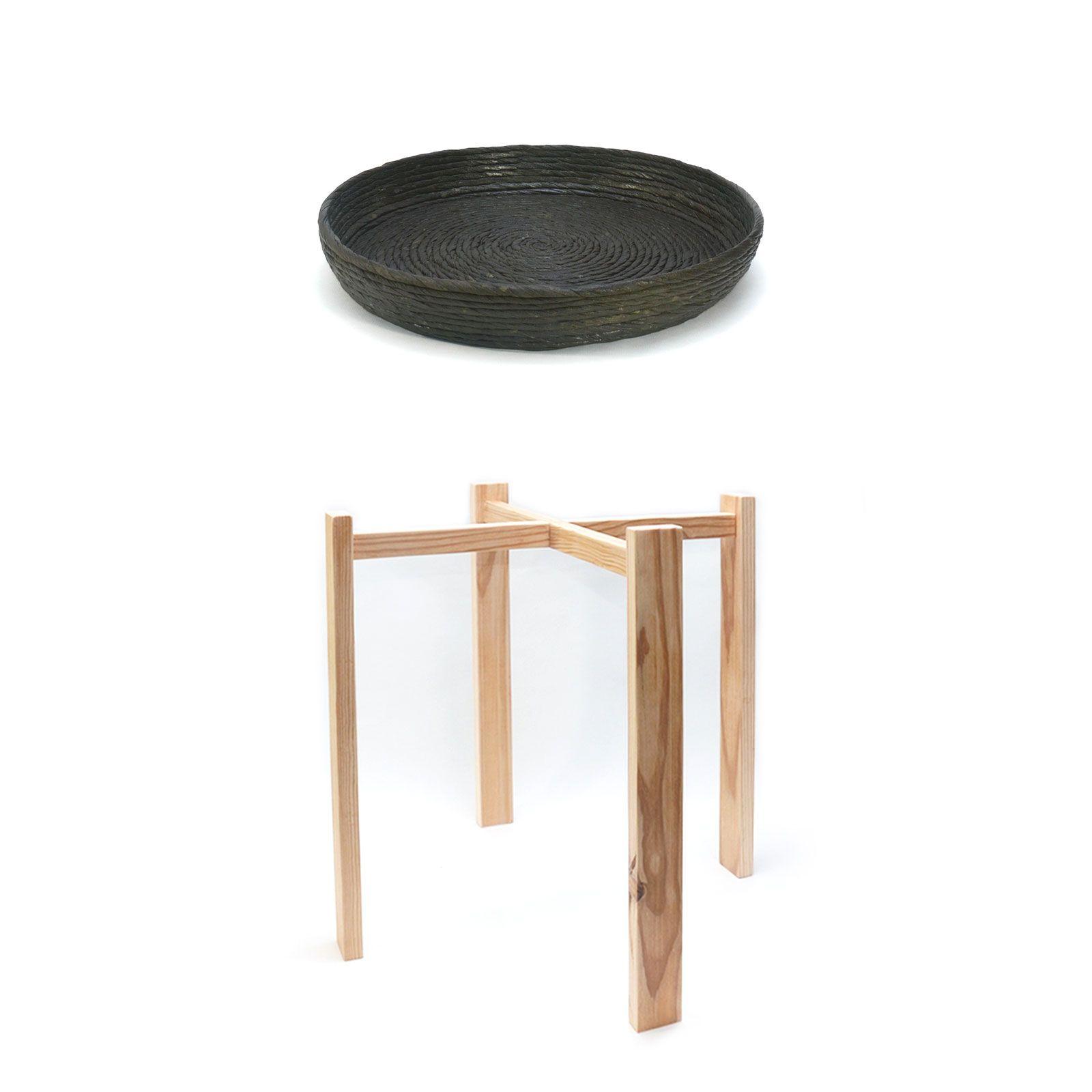 Conjunto mesa auxiliar oliva natural