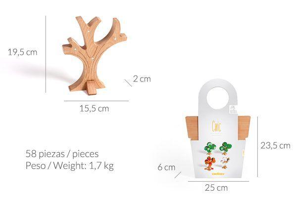 Dimensiones y caja juego Cwic