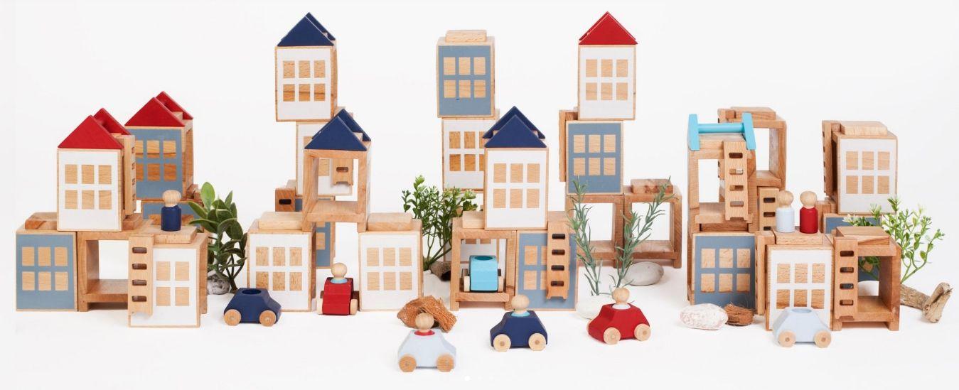 Juego de madera para construir ciudades