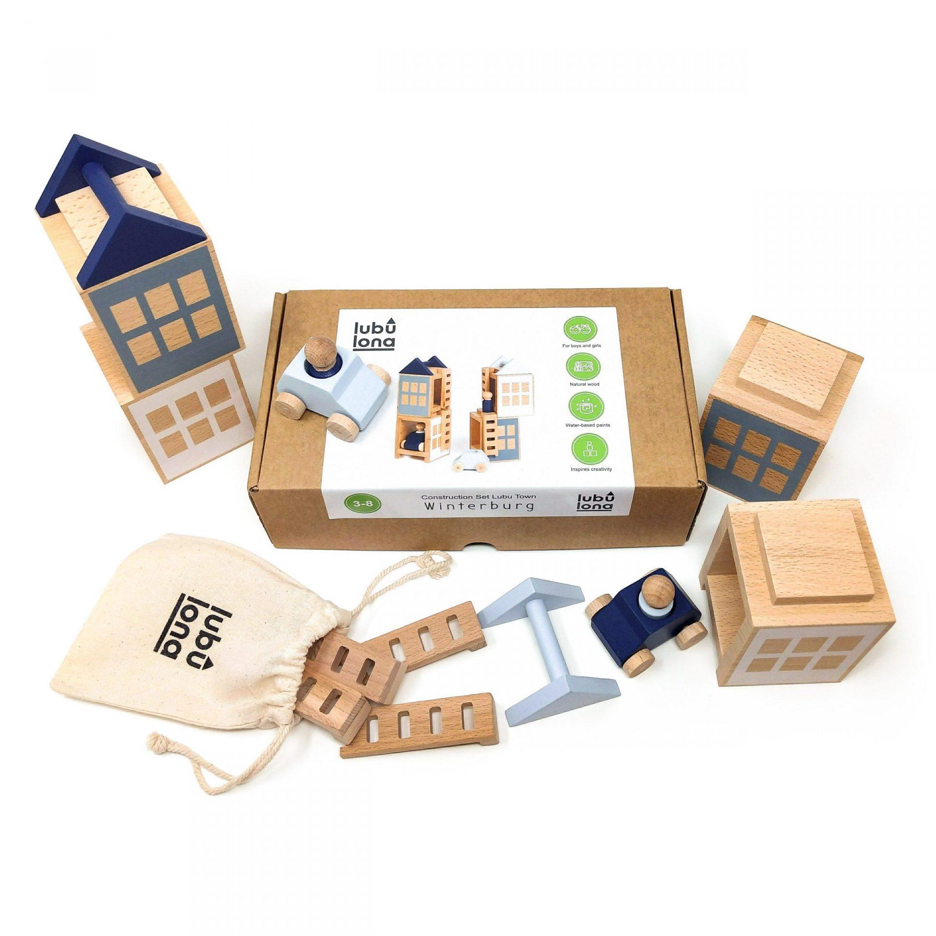 Juego de piezas de madera para construir ciudades