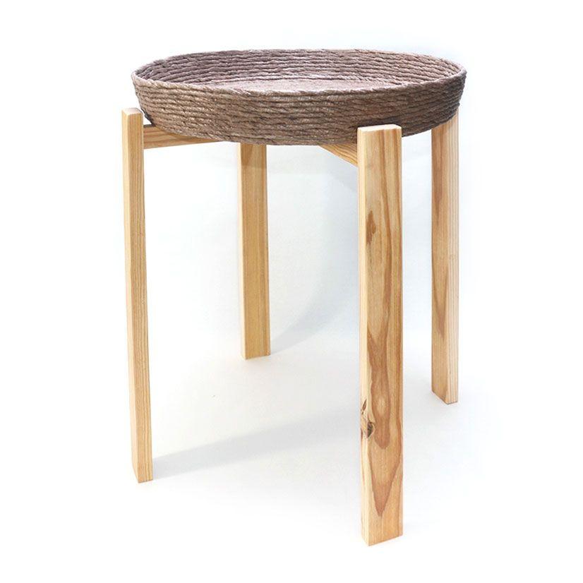 Mesa auxiliar madera reciclada arena