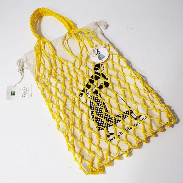 Bolsa amarilla Cholita Corme con bolsa de algodón orgánico