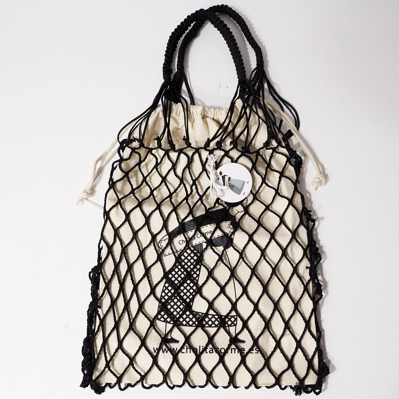 Bolsa negra Cholita Corme con bolsa de algodón orgánico