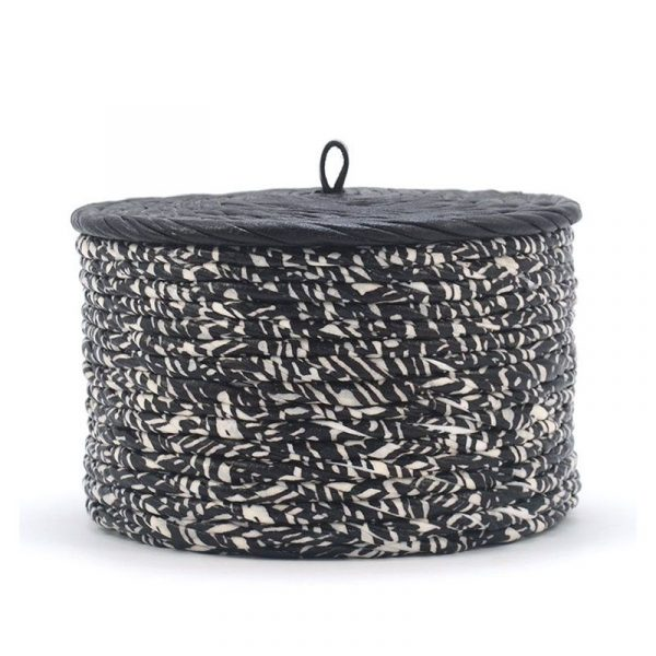 Caja redonda con tapa zebra