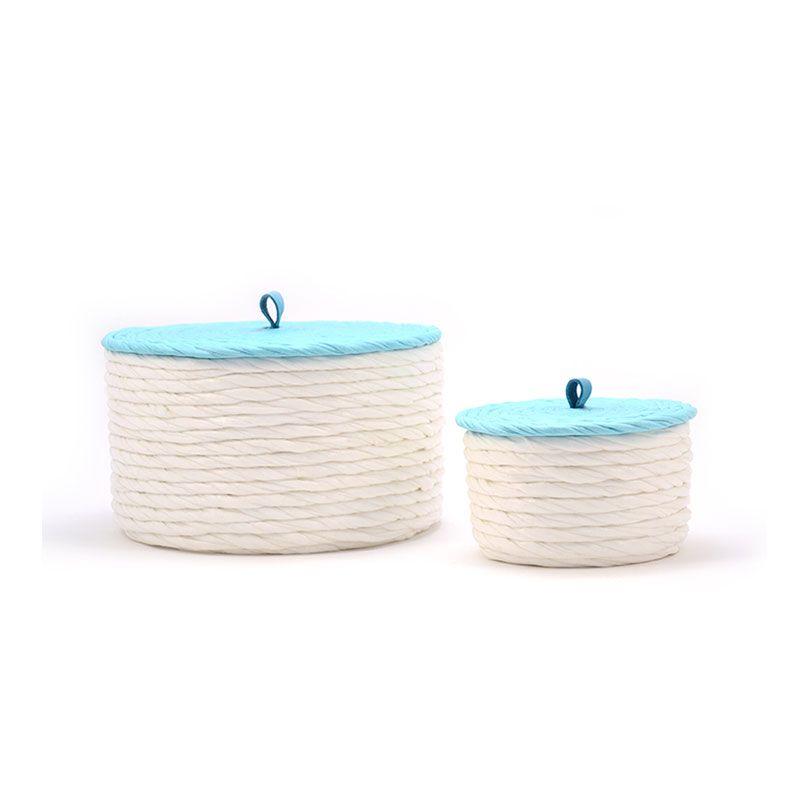 Cajas decorativas con tapa azul blanco