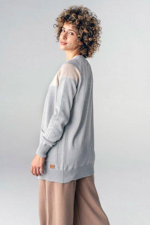 Espalda chaqueta de punto mujer gris