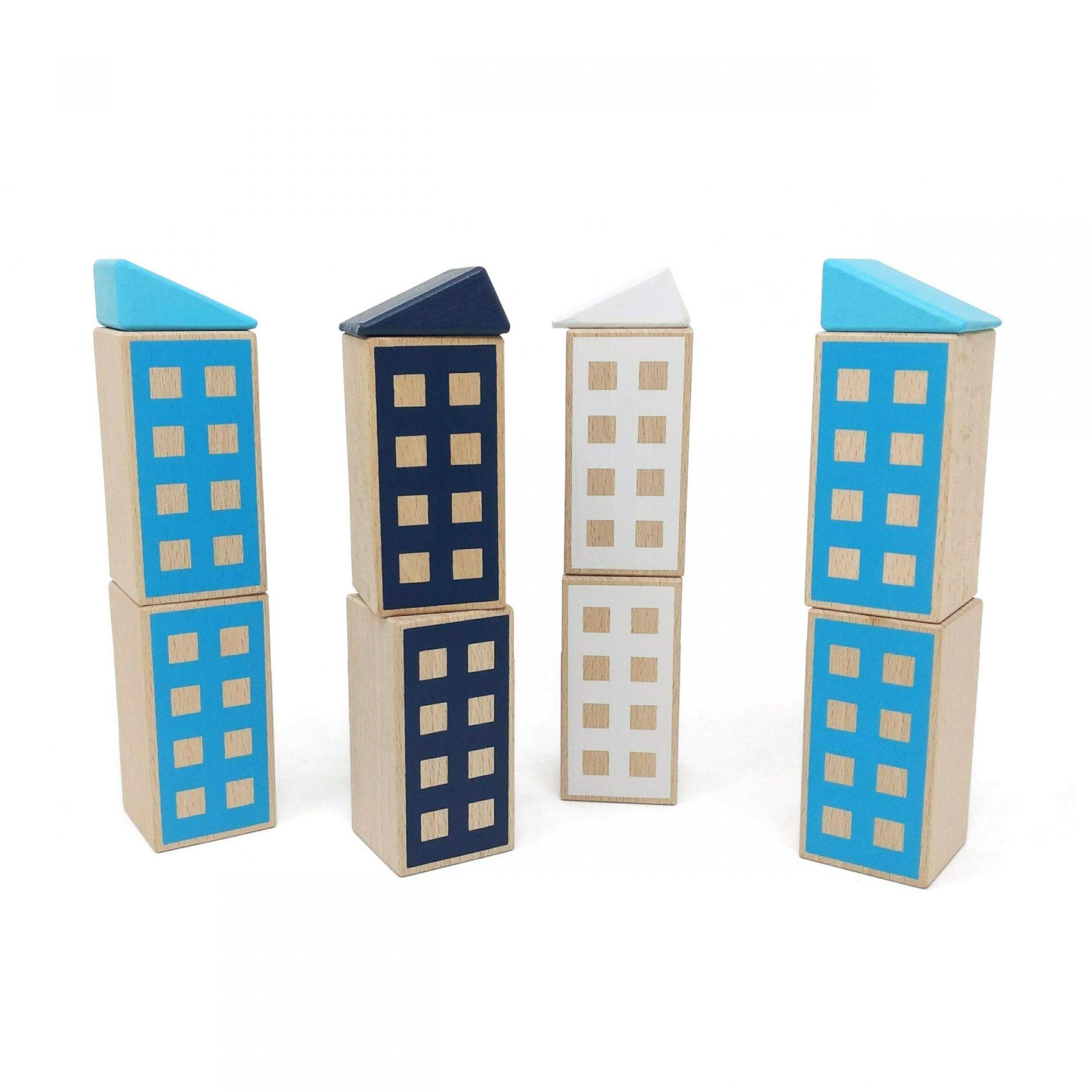 Juego de construir edificios: azul claro, azul oscuro y blanco