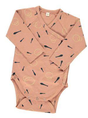 Body bebe kimono manga larga rosa