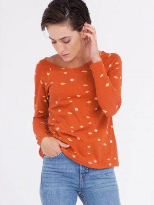 Camiseta cuello barco naranja estampado saturno