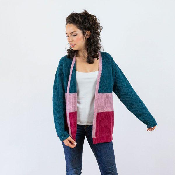 Chaqueta larga de lana verde rosa