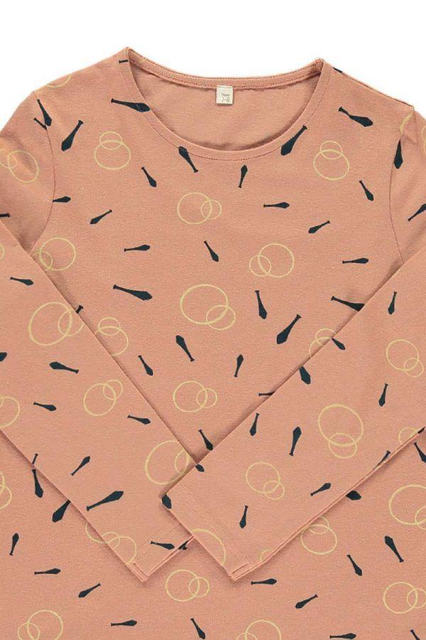 Estampado malabares camiseta algodón orgánica rosa