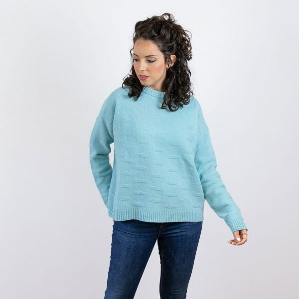 Jersey de lana azul mujer