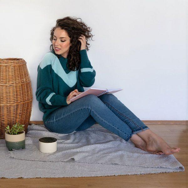 Jersey de lana chevron azul verdoso mujer