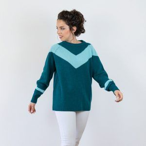 Jersey de lana estampado chevron