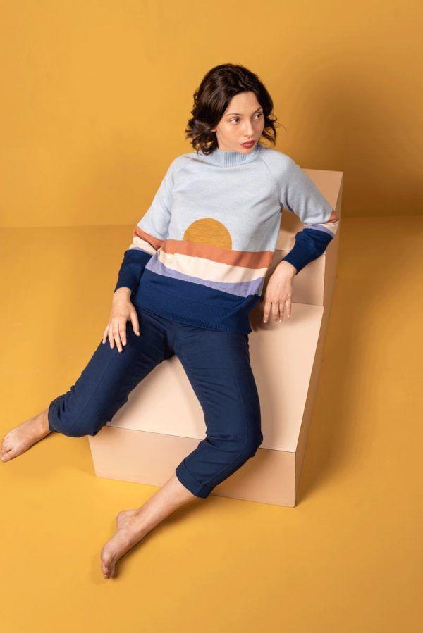 Jersey de lana merino azul