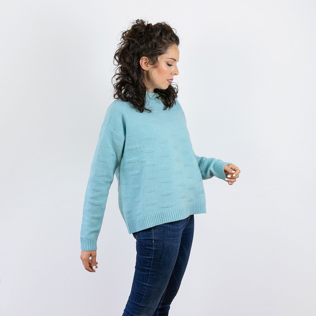 Jersey de lana merino mujer azul