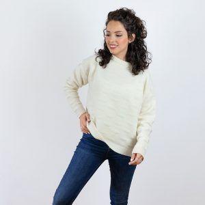Jersey de lana merino mujer hueso