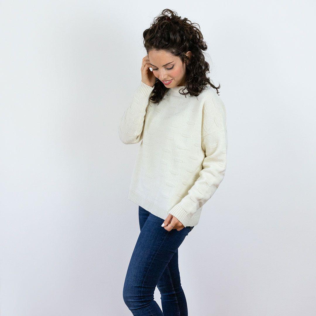 Jersey de lana mujer color hueso