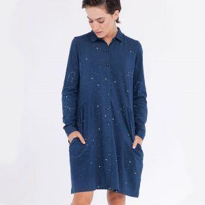 Vestido camisero estampado de constelaciones