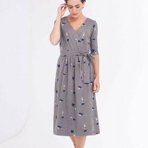 Vestido cruzado gris algodón orgánico