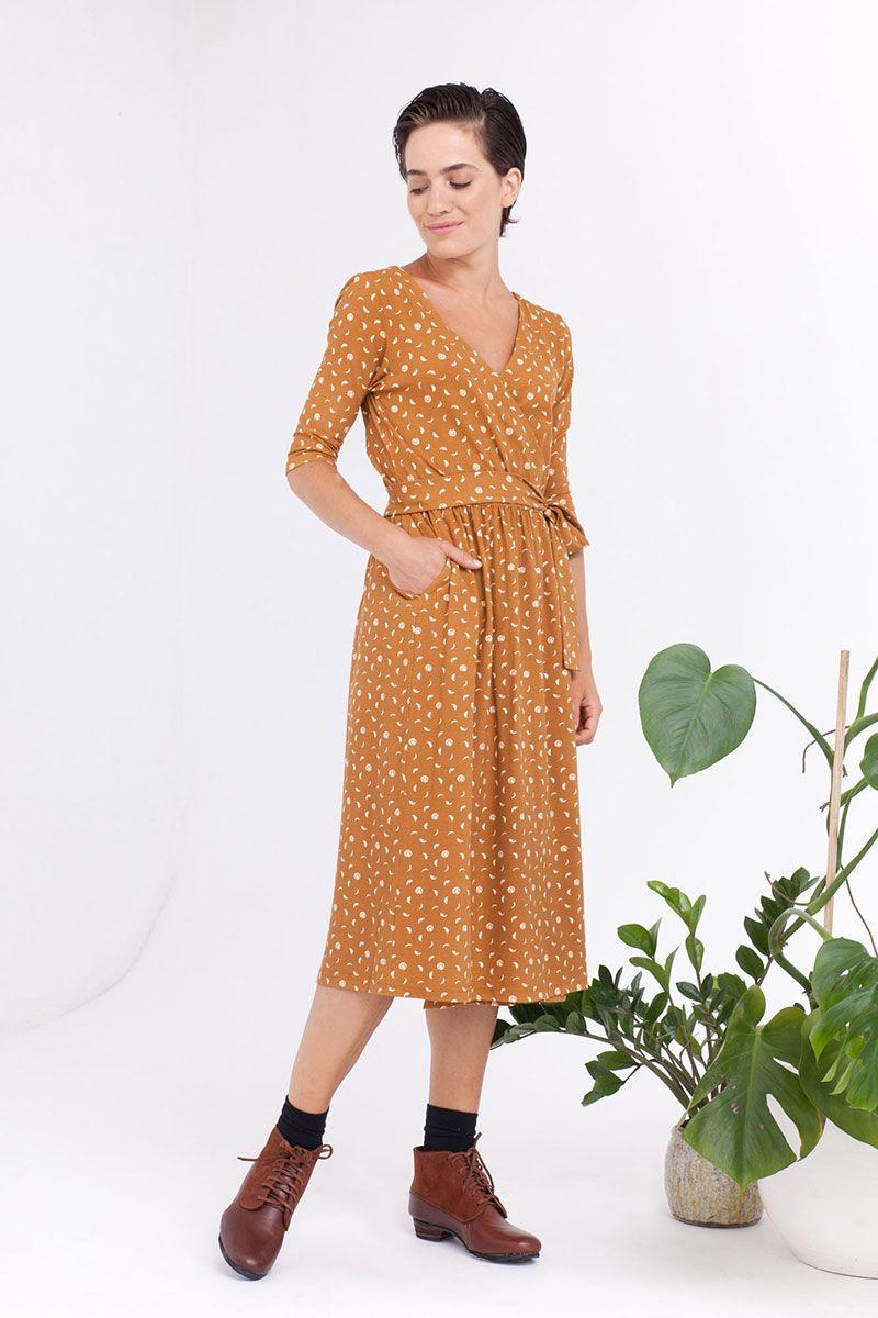 Vestido cruzado mostaza algodón orgánico