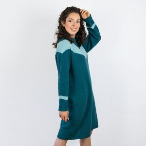 Vestido de lana estampado chevron