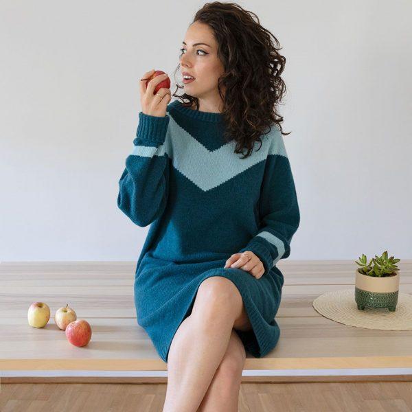 Vestido lana mujer estampado chevron
