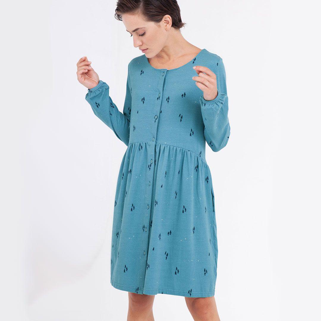 Vestido oversize azul ópalo con botones