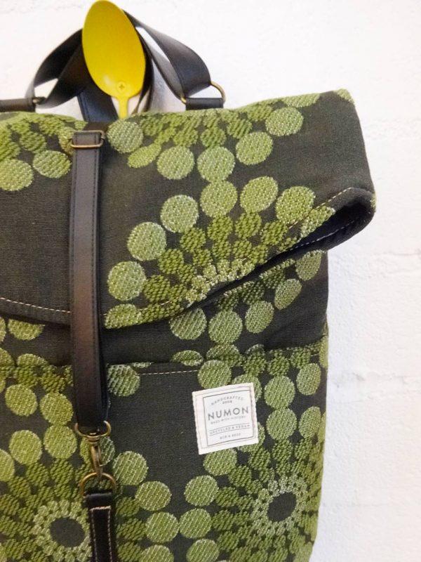 Mochila tapicería vintage verde