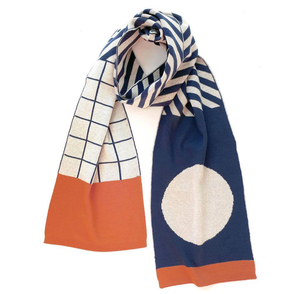 Bufanda de lana merino naranja