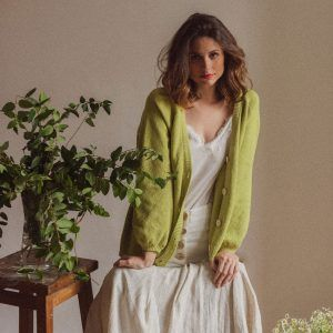 Cardigan mujer manga globo verde lima