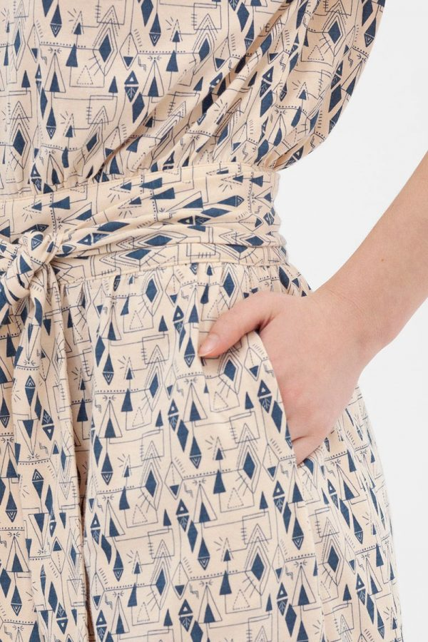 Bolsillo de vestido manga corta algodón orgánico tonos azules