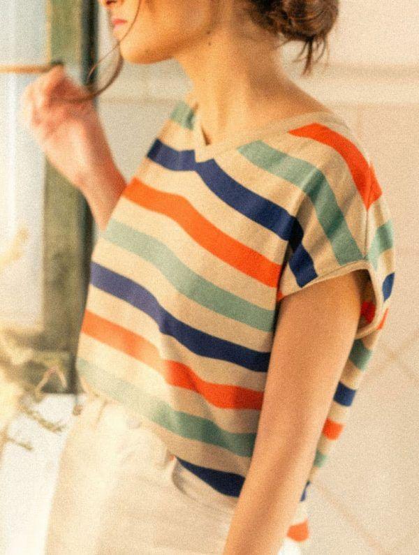 Cardigan reversible mujer rayas de colores
