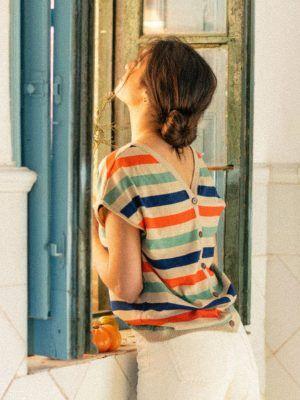 Cardigan verano mujer de rayas multicolor