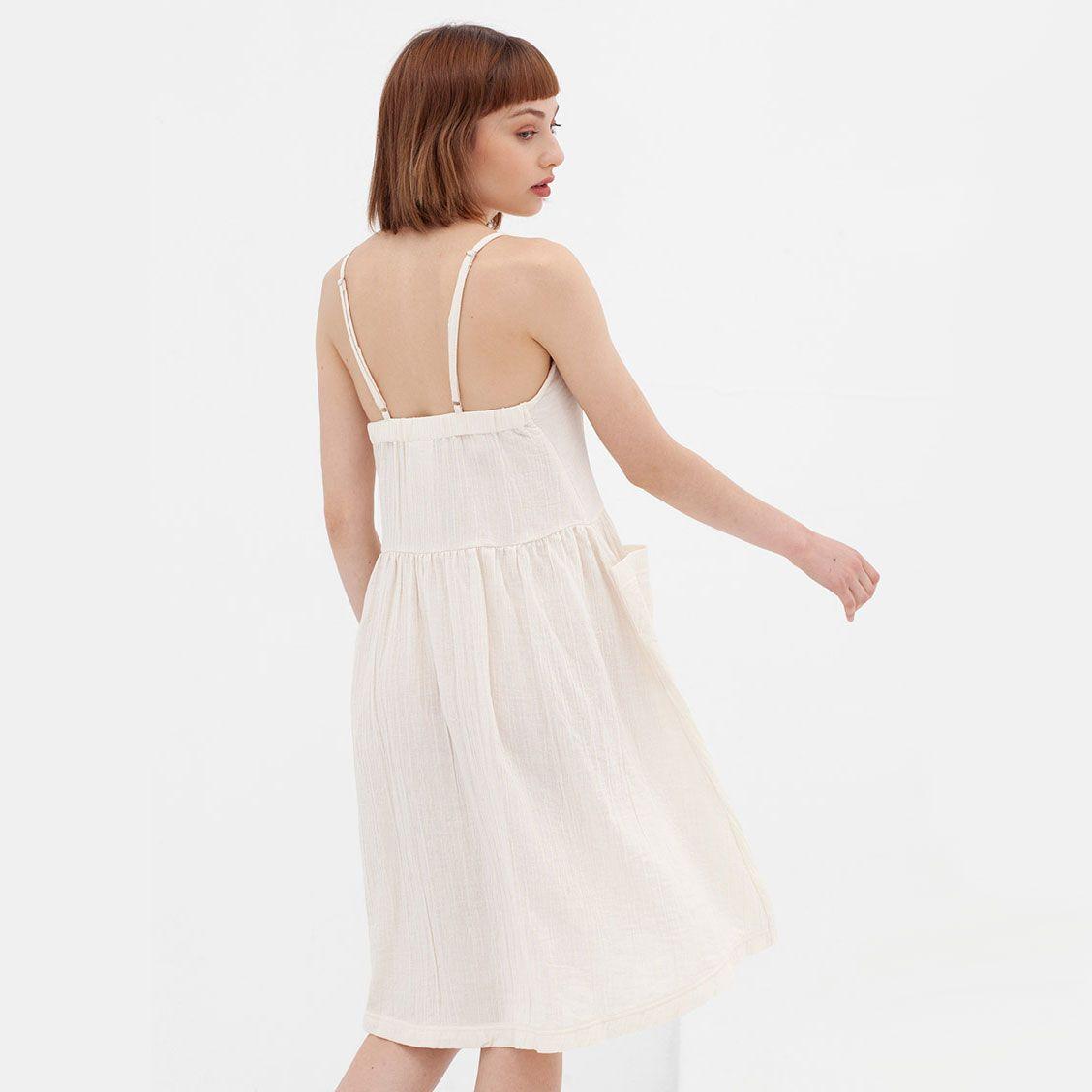 Espalda vestido blanco tirantes algodón orgánico