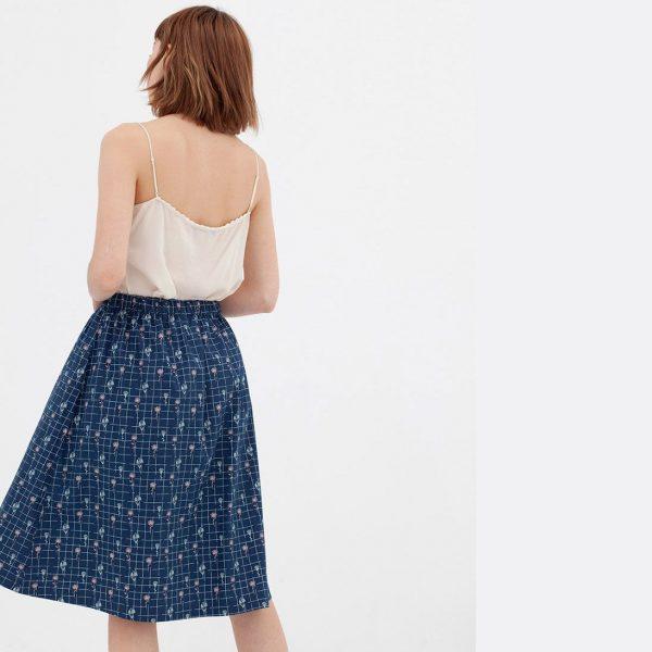Falda algodón orgánico azul vista trasera