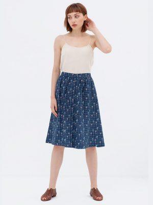 Falda estilo retro azul algodón orgánico