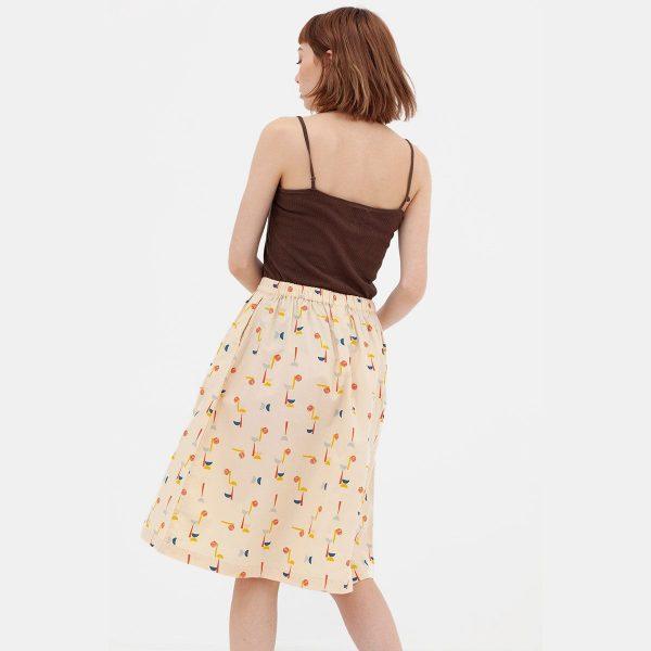 Falda midi algodón orgánico vista trasera