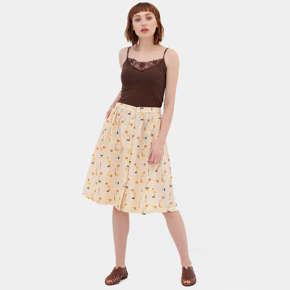 Falda midi de algodón orgánico estampada