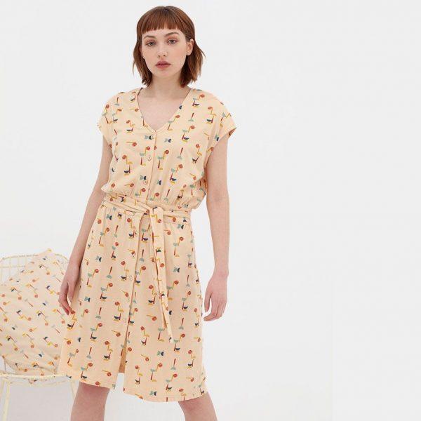 Vestido con cinturón de algodón orgánico abstracto