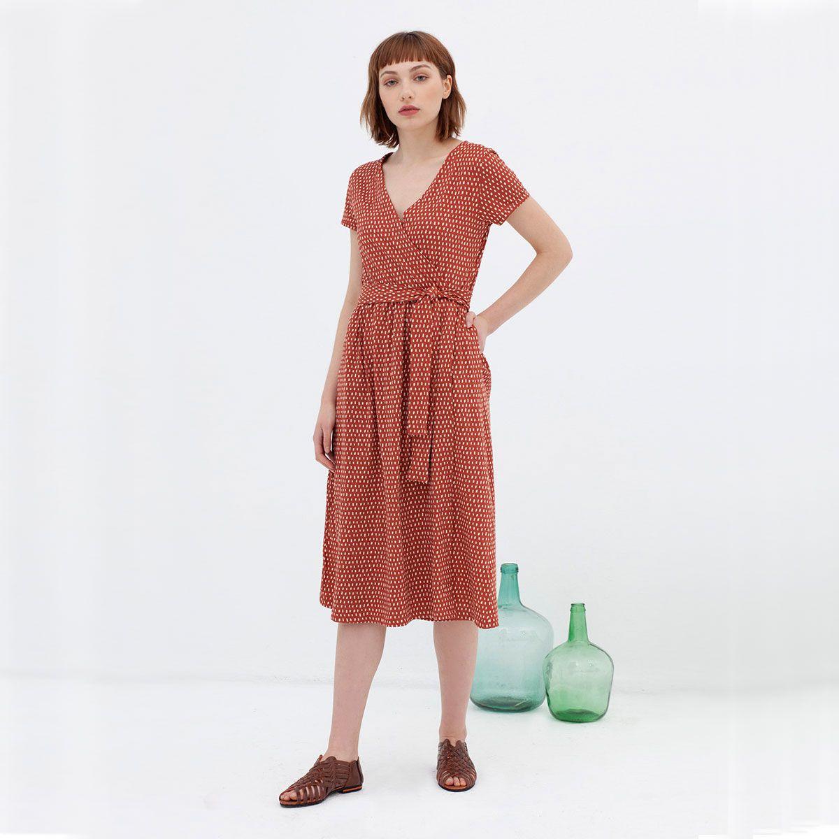 Vestido cruzado de algodón organic con bolsillos color teja