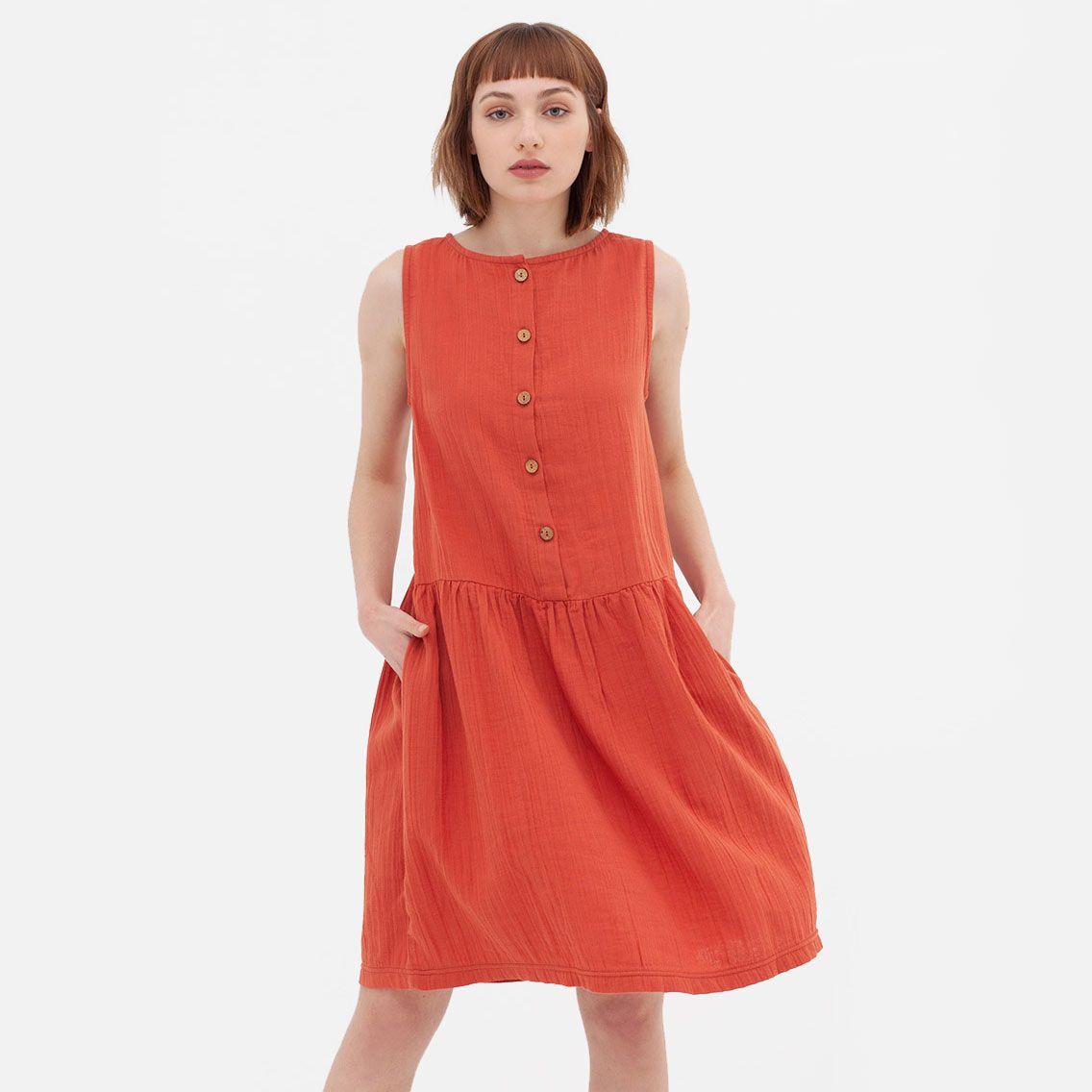 Vestido de algodón orgánico reversible color teja
