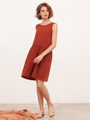 Vestido de algodón orgánico reversible teja