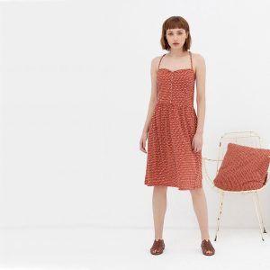 Vestido de Tirantes de algodón orgánico color teja