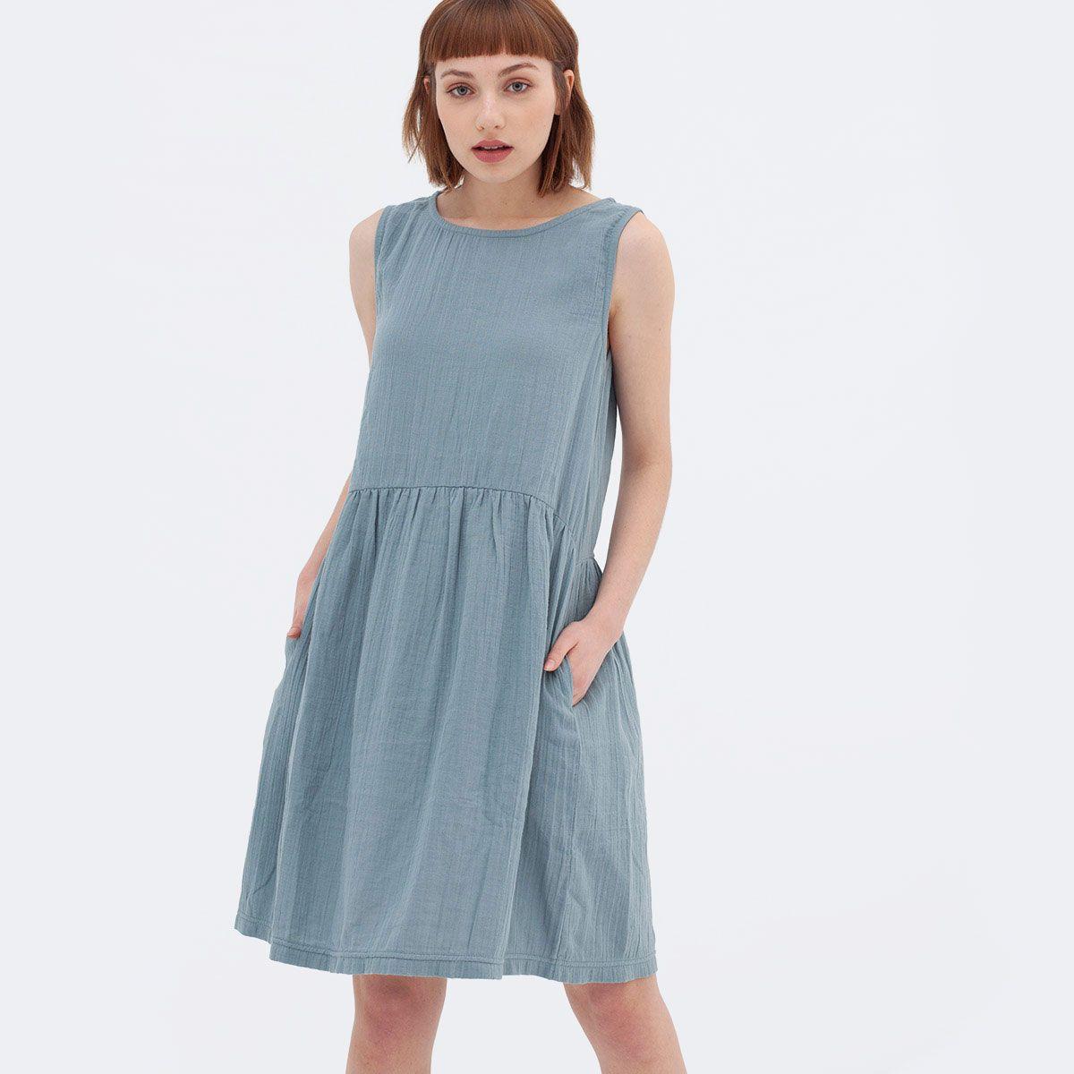 Vestido ecológico azul de algodón orgánico