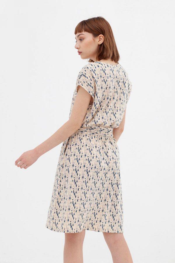 Vestido manga corta algodón orgánico visto desde atrás