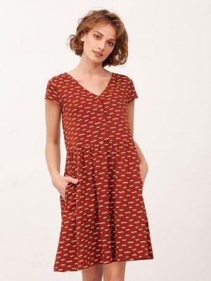 Vestido manga corta color teja algodón orgánico